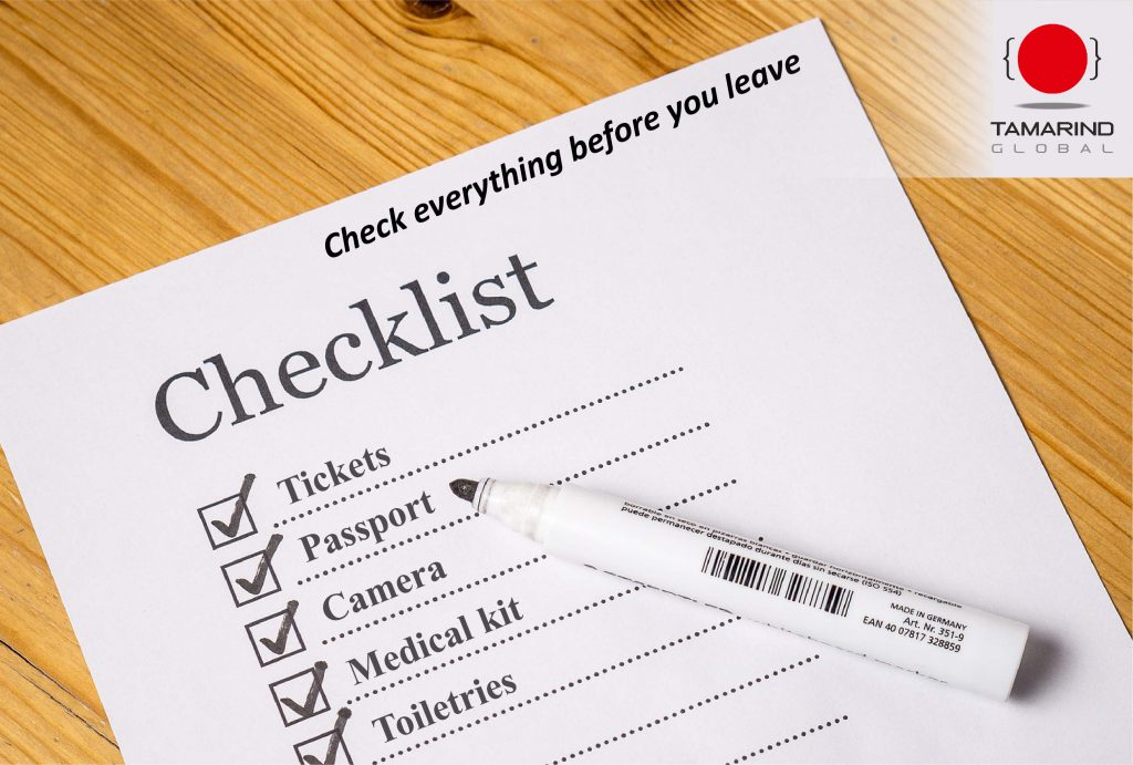 Checklist For Travelling